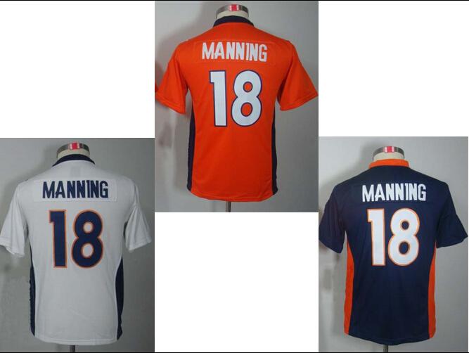 Denver #18 Peyton Manning Youth Jersey,Cheap American Football Jersey,Stitched logo Embroidery,Kids Authentic Sports Jerseys(China (Mainland))