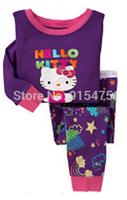 2014 Baby KITTY CAT Pajamas Kids Pyjamas Baby Boys girls 100% cotton Sleepwear Children Wear baby clothing 6set/lot Free Shippin