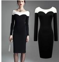 Plus size 2014 New women Midi pencil Dress Women  Vintage patchwork office Dress Fashion Vestidos winter autumn dress A458