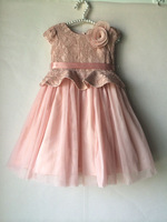 branded good quality pink color girl lace dresses with flowers  4 layers