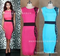Plus size 2014 New women pencil Dress Women  Vintage patchwork office Dress Fashion Vestidos winter autumn dress A463