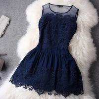 2014 New Fashion HOT Novelty Tank Slim Women's Fashion Dresses With Lace Lace Patchwork Dress Sleeveless  Plus size S-XL Ebay