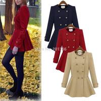Women Double-breasted Cashmere Empire Peplum Winter Parka Coat Jacket Overcoat Dress