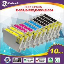 10PK cartucho de tinta  for epson  TINTA 4X t0551 2XC/M/Y t0552/3/4  TINATA for  RX420 RX425 RX520 R240 R245 EPSON PRINTERS