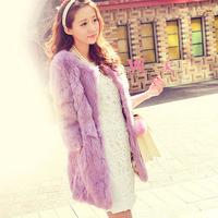 hot! 2014 Winter Women's Genuine Leather jacket medium long rabbit fur coat girl's warm outerwear autumn jacket waistcoats