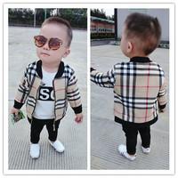 Hu sunshine wholesale NEW 2014 Autumn fashion European and American style boys outerwear zipper Plaid jacket ZLF100304H