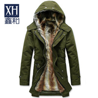 2014 new men's winter coat long plush liner detachable hooded thick windbreaker jacket to keep warm coat jacket