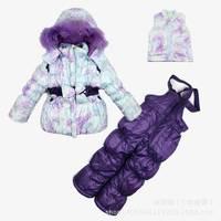 Free shipping 5 pcs/lot baby girl Ski Suit Windproof print bow Warm Fur Jackets+Bib Pants+Wool Vest sports suit