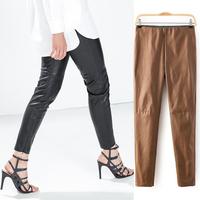 NEW Winter Vintage Trendy Slim Women PU Faux Leather Elasticized Waist Skinny Pants Trousers Legging