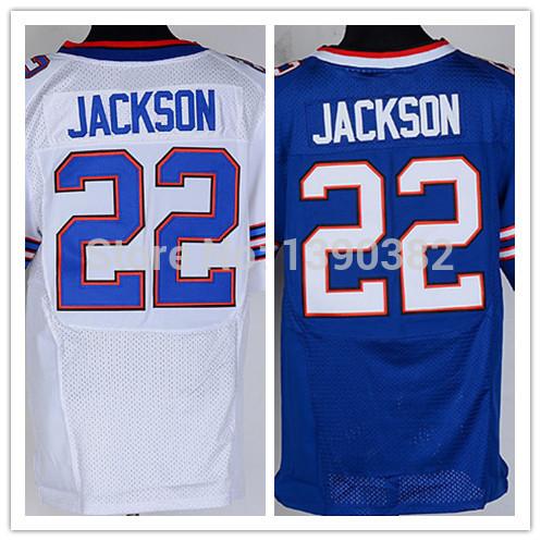Wholesale Buffalo #22 Fred Jackson Football Jerseys Free Shipping, White, Blue Stitched Elite American Football Jersey(China (Mainland))