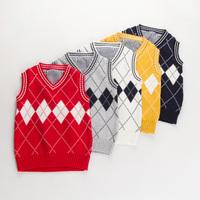 Free shipping 2014 new autumn winter children boy  sweaters v-neck  Pullovers knitwear diamond sweater vest
