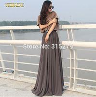 Sexy plus size brand faux fur patchwork women chiffon long dress floor-length maxi dresses 2014 new arrival autumn winter xxl