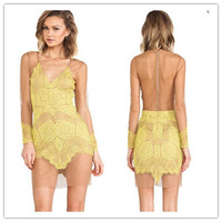 2014 New Fashion Deep V-neck Mesh Patchwork Lace Bodycon Dress Autumn Long Sleeve Backless Lace Sexy Evening Party Dress