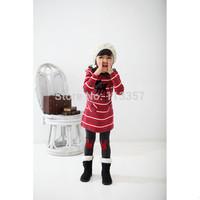 2014 new autumn arrival Children's clothes Little Fawn Stripe Dress Girl's suit /2pcs Long sleeve dress+Leggings Girl's Set