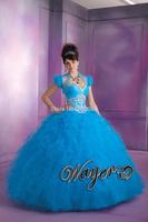 QD1326 Latest Crystal Beading Corset Pricess Ball Gown Prom Dress Blue vestidos de quinceanera dresses vestidos de 15 anos 2014