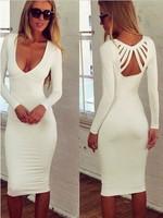 New women white deep v neck long sleeve hollow out celebrity dresses vestidos de fiesta evening party prom knee length dress