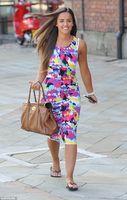 Celeb Elegant Dress 2014 New American Style Tie Dye Splash Print Muticolor Pencil Dress Sleeveless Midi Dress Vestidos A519