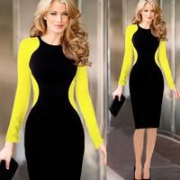 Vintage Celebrity Party bodycon Dresses Autumn Winter 2014 New Women Patchwork Casual Dress Slim OL Work  Vestidos dresses