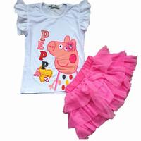 Girls clothing set Peppa Pig flying suit sleeve t-shirt + tutu skirt 2pcs/set Cartoon Pepe pig leisure suit children's princess