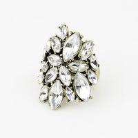 Min.Order $8.8(Mix Order) European and American Fashion Retro Big Flower Stretch Exaggerated Rhinestone Ladies Ring FR0210