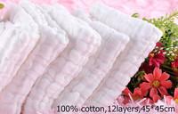 Free shipping 5pcs/lot 45x45cm 12 layers 100% cotton Baby Gauze Washcloth Baby Wipe Sweat Absorbing baby towel,soft Handkerchief