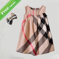 UK brand Baby girls dress 2015 new sleeveless fashion dresses babi baby girl plaid dress child clothing 3 color