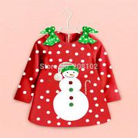 New Baby Girl Christmas Dress Girl's long Sleeve Merry Christmas Dress Kids Cotton Dot Casual Dress Girls Tutu Snowman Dress