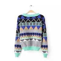 2014 fall and winter new fashion asymmetrical geometric knit oversized brand sweater, blusas de inverno, desigual free shipping