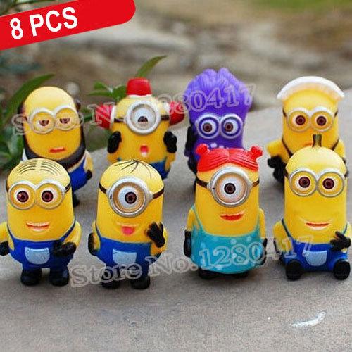 HappyBaby 8 PCS/Set Hot Sales 5cm 3D Eye Despicable Me 2 Minions Purple Figure Set PVC doll Toys Christmas Gift for Kids(China (Mainland))