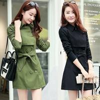 Free Shipping 2014 New Korea Fashion Spring Autumn Women Cotton Elegant Slim Long Sleeve Trench Coat Casual Plus Size Outerwear