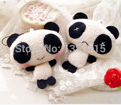 1PIC Cute Panda pendant mobile phone chain plush toy doll + FREE SHIPPING(China (Mainland))