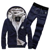 3XL 2014 Winter Thicking Fur Fleece Man Hoody Mens Hoodies And Sweatshirts Casual Men Sportswear Tracksuit Suit Set  R2000