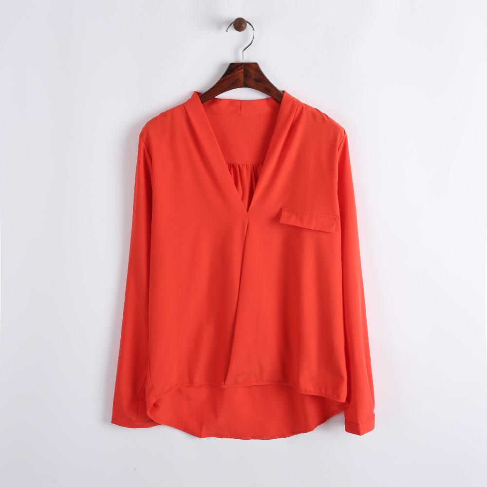 casual mulheres breve 2014 marinha vermelha travessia v- pescoço manga longa arco blusa solta 202005 varrer(China (Mainland))
