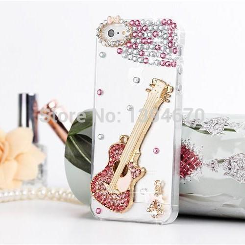 Shiny Bling Crystal Rhinestones Pink Guitar DiamondCase For Samsung Galaxy S S3 S4 Mini Note 2 3 Grand Duos I9082(China (Mainland))