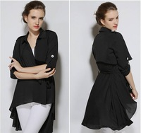 Free shipping Lady's Windbreak Long Sleeve (can Adjust) Turn-down Collar Asymmetric Long Trench Outerwear Drop Shipping