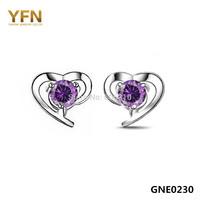 GNE0230 Fashion Classic Love Design Stud Earrings Hot Sale 925 Sterling Silver Jewelry CZ Heart Earrings for Women Free Shipping