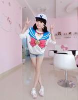 Free Shipping Sailor Moon cosplay costume Harajuku Kawaii sweater top cute cartoon sailor women Pullover hoody