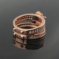 titanium steel L  locks inlay artificial diamond stars male and female 18K rose gold ring