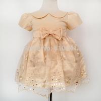 Baby Girls Christmas Dresses 2014 Infant Lapel Party Dress Embroidery Sequins Dresses To Child 4 pcs per lot Infant Lace Dress