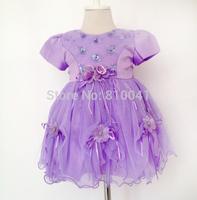 Vestido De Festa Infantil 2014 Newborn Baby Girls Wedding Dress Lovely Purple Color With Flowers and Sequins  for baptism