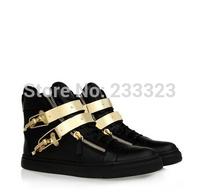 Free shipping 2014 GZ brand new shoes leather zipper high top women men leisure Metal buckle sneakers zanotty