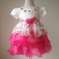 Baby girl christening gownsinfantil meninas Kids christmas Party dresses White and Hot Pink Small Flower Loveky Party Dress Kids