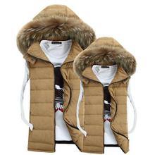 Autumn Winter New Men&Women Casual down cotton jacket vest Fur collar Colete masculino Waistcoat clothing Lovers coats Big size(China (Mainland))
