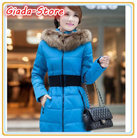 New 2014 high quality warm women winter jacket fur hood solid color coat down jacket fashion long slim wadded thick parka female