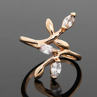 18K Gold Plated CZ Ring Made with Genuine Austrian Crystals Summer Clear Two Flower Full Sizes For Women Wholesale