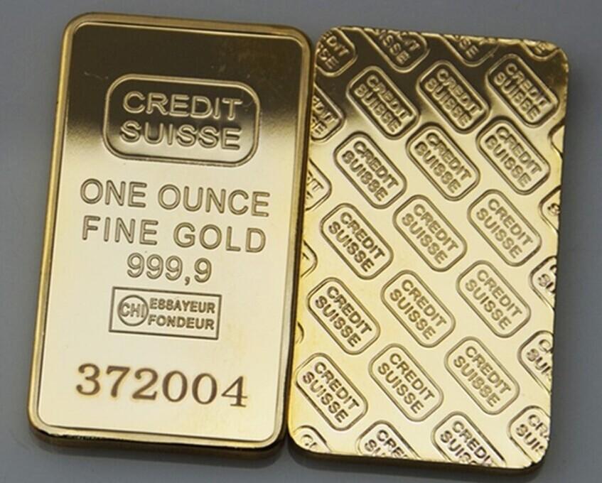 5pcs/lot Free shipping CREDIT SUISSE 1oz 24ct Gold Plated Layered Bullion Bar Ingot Replica coin+Switzerland Fake Gold Bar(China (Mainland))