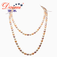 DAIMI Multi Color Long Pearl Necklace Rice Shape Natural Freshwater Pearl White,Purple,Pink Color Coat Chain AUTUMN