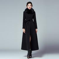 TWODS 2014 new women's x long wool winter coats black s-XXXL black large fur collar single button belt slim woolen warm overcoat