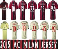 14-15AC Milan home and away jerseys, Balotelli Kaka, Thailand quality jersey, free printing AC Milan jersey number 2015