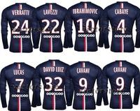 DAVID LUIZ 32 jersey 2015 man CAVANI 9 jersey 14 15 man home long sleeve jersey VERRATTI T.SILVA IBRAHIMOVIC CABAYE can custom